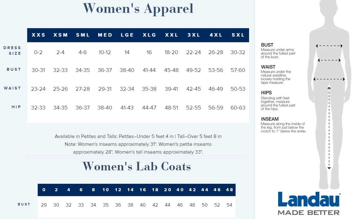 Landau women's uniform size chart and lab coat size chart