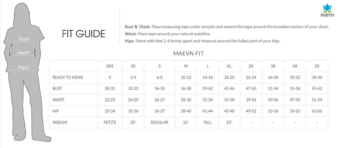 Maevn womens size chart