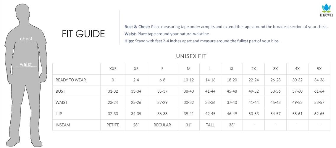 maevn uniforms size chart - a1scrubs.com