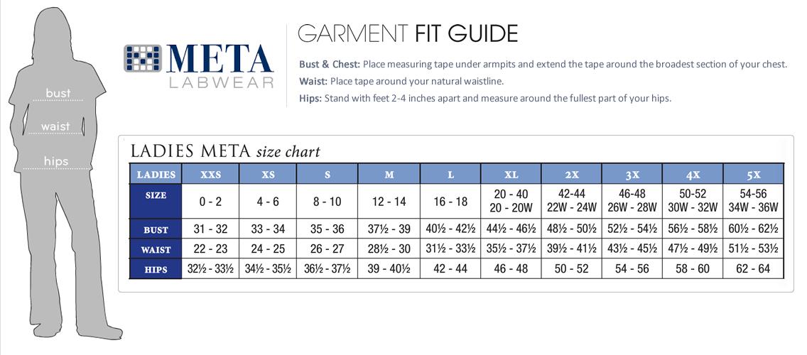 meta womens size chart