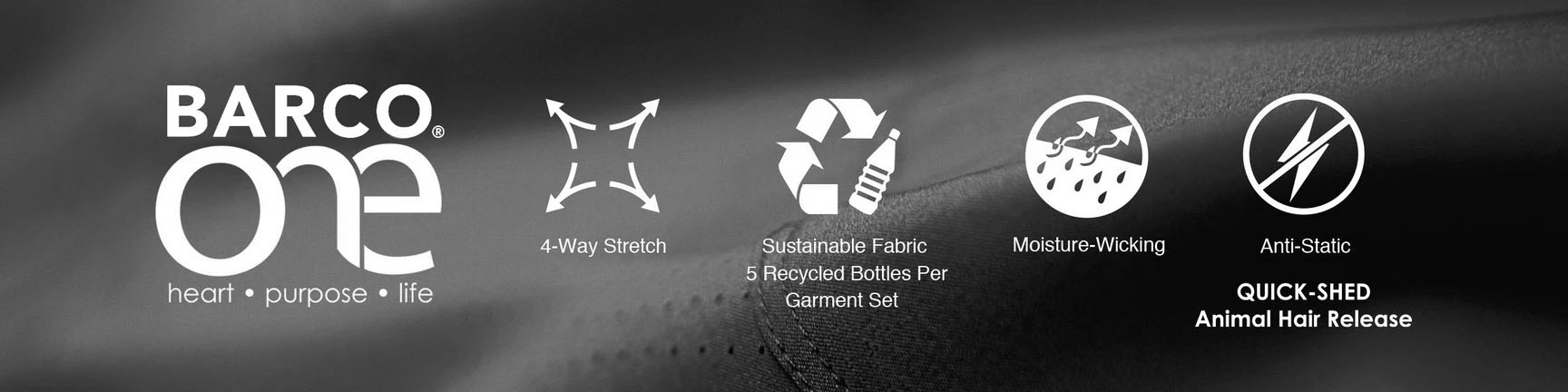 Shop sustainable Barco One uniforms and scrubs. With 4 way stretch, sustainable fabric, moisture wicking technology and anti-static properties to quick shed animal hair. See annd feel the difference Barco Made medical apparel makes.