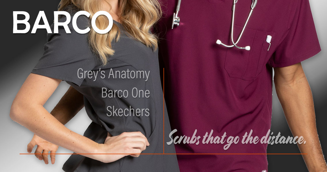 Barcomade uniforms adn scrubs by Barco Uniforms include Grey's Anatomy, Skechers and Barco One brand medical and nursing scrubs