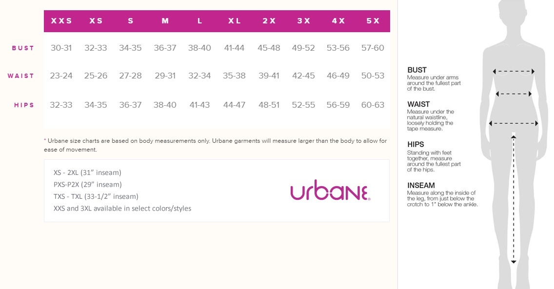 urbane scrubs size chart and inseam information