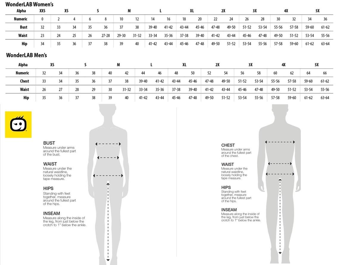 Wonderlab size charts