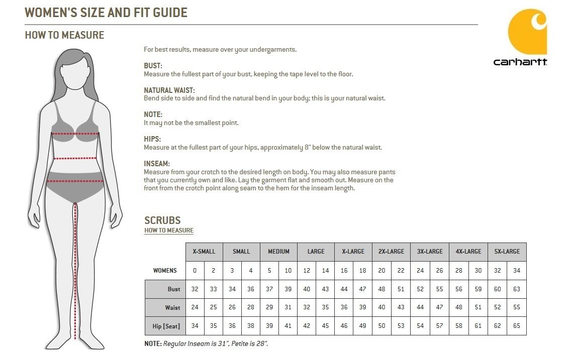 cahartt women's scrubs size chart