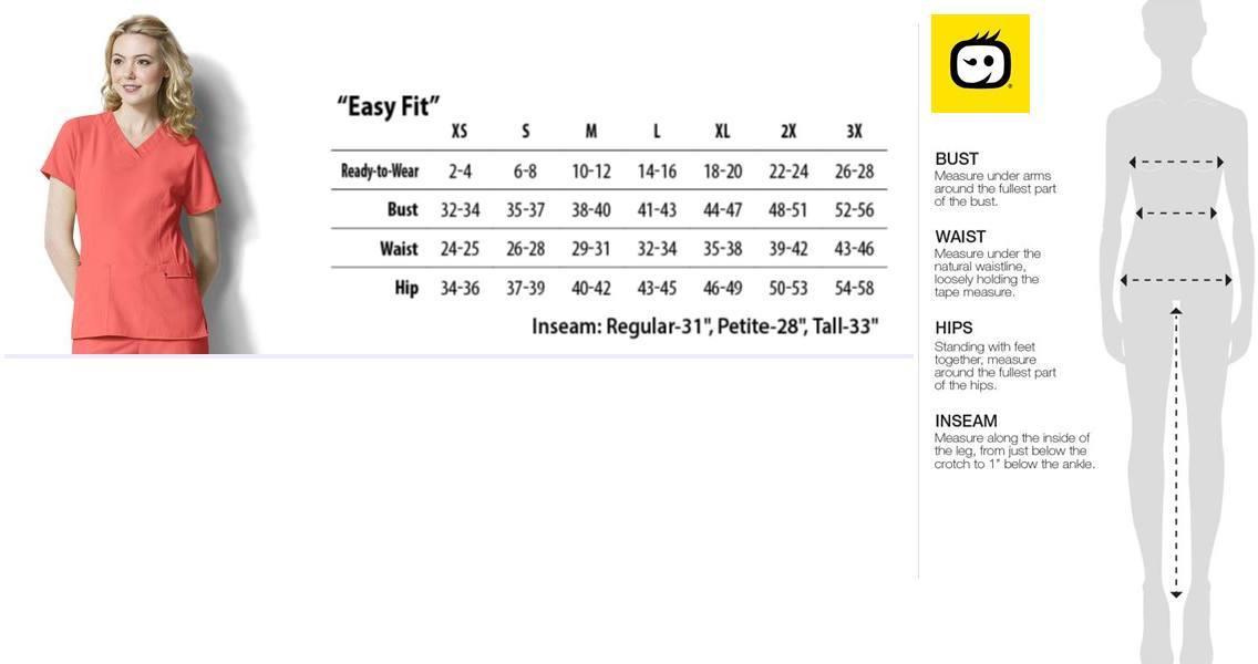 easyfit scrubs size chart