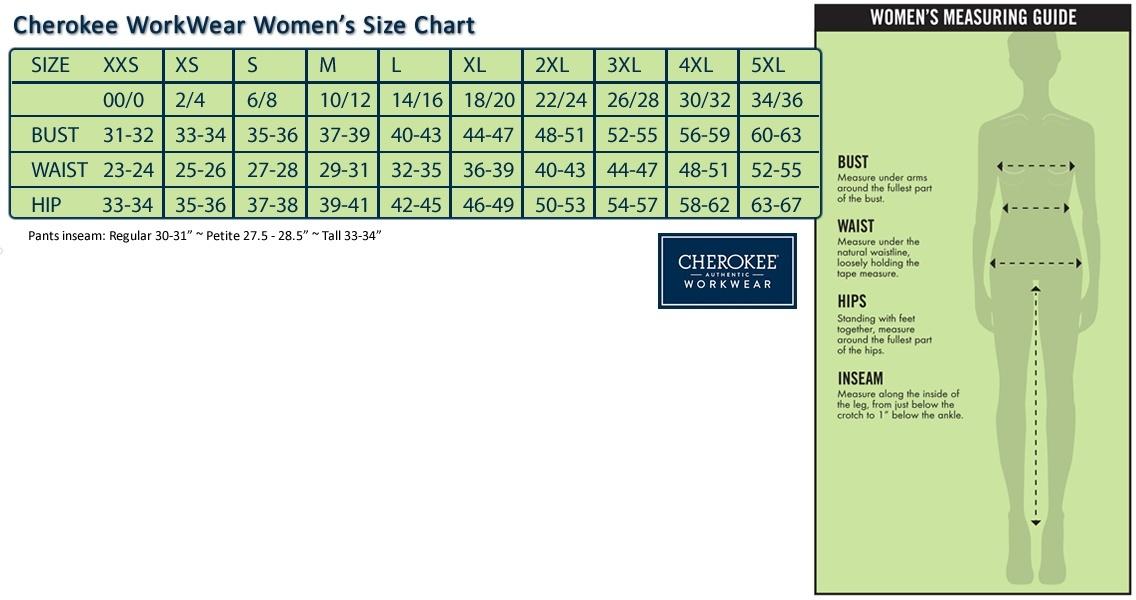 cherokee workwear womens size chart