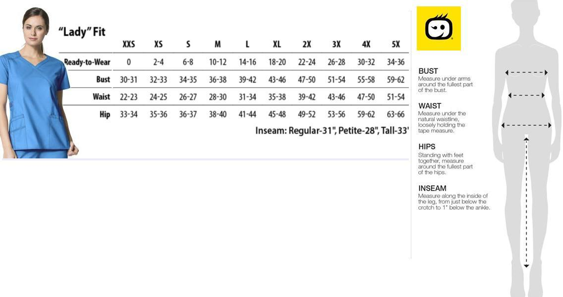 wonderflex scrubs size chart