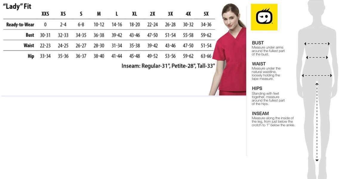 wonderwink origins scrubs size chart