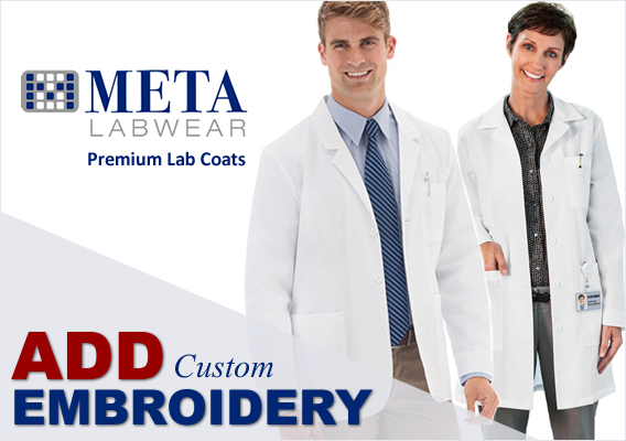 meta lab coats - optional embroidery available