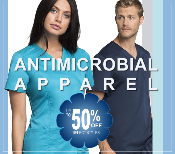 Shop antimicrobial scrubs and save - up to 50% OF select styles -Take advantage of these great offers today!