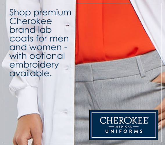 Shop Cherokee brand lab coats with optional embroidery