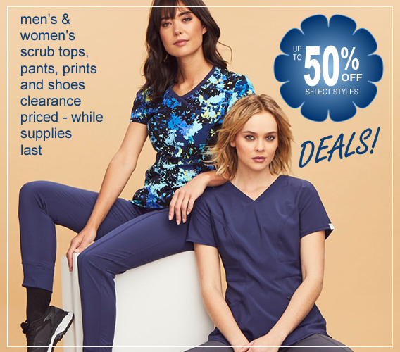 Shop HOT DEALS on scrubs, shoes and more - up to 50% OFF