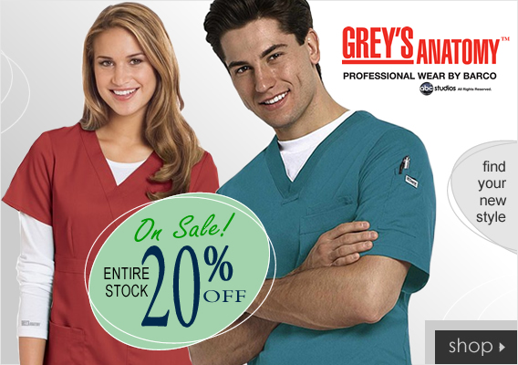20% OFF Grey's Anatomy Scrubs!