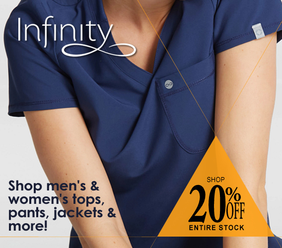 Shop our Infinity scrubs sale and save an extra 20% OFF