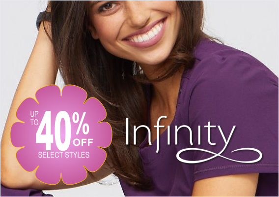 shop infinity scrubs - now up to 40% OFF select styles!