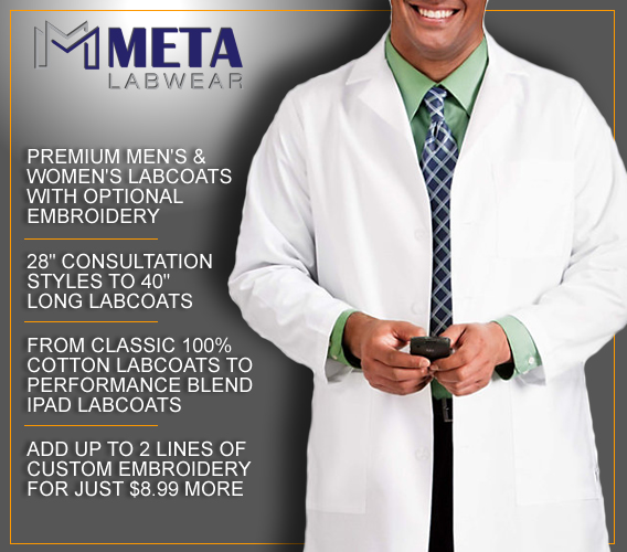 meta lab coats with optional custom embroidery