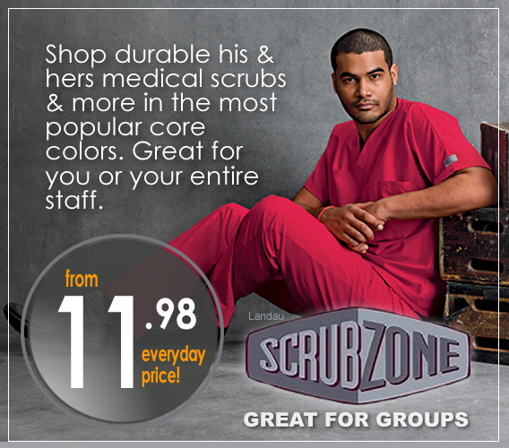 shop new Scrub Zone scrubs for him or her ant great everyday low prices!