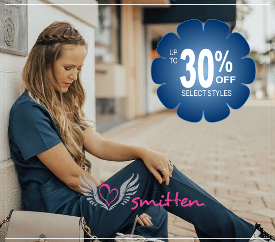 Smitten brand uniforms, scrubs, shoes and accessories are here - up to 30% OFF select styles! - What a great time to save on your new medical apparel!