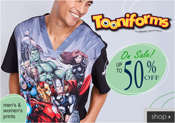 Tooniforms by Cherokee - Marvel, Peanuts, Sesame Street, Disney prints and more up to 50% OFF