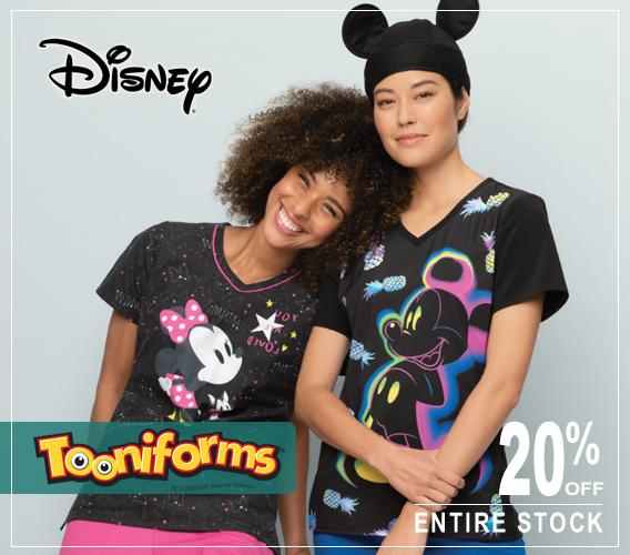 Disney character print uniforms and scrub tops