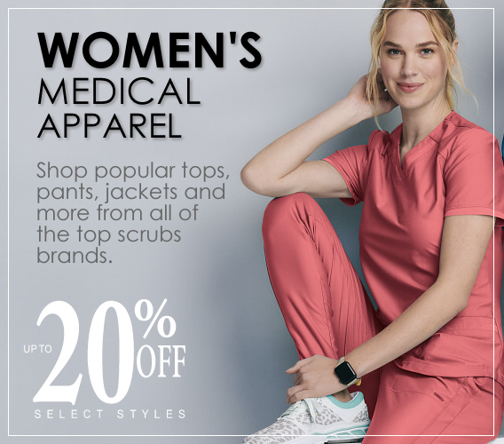 Shop women's uniforms and scrubs from the top brands you know, like Landau, Urbane, Wink, Skechers and more adn save up to 20% OFF select styles!