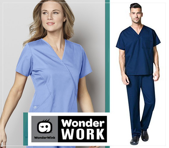 wonderwork scrubs by wonderwink - for men and women - unisex styles in scrub tops, pants, jackets and more.
