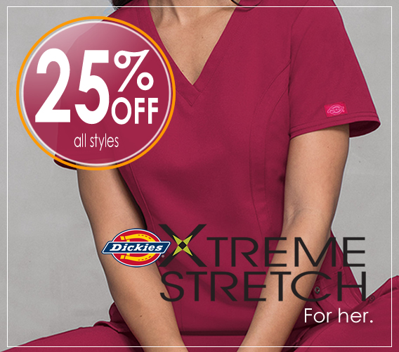 Shop Dickies Xtreme Stretch scrubs - 25% OFF for a limited time only.
