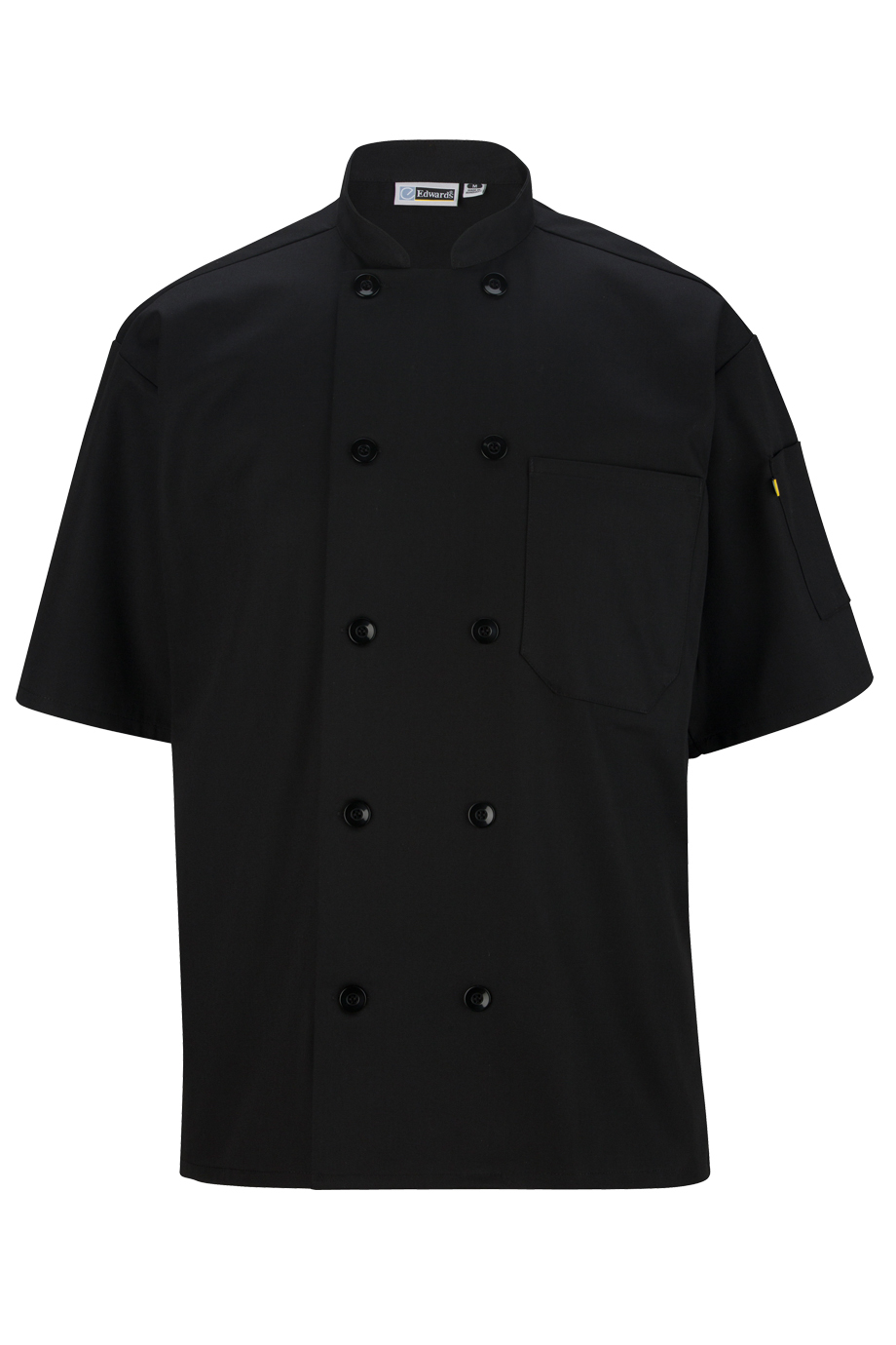 Black Plastic Button Short Sleeve Chef Coat-Edwards