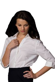 V-Neck 3/4 Sleeve Tailored Blouse-Edwards