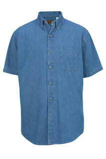 Edwards Hospitality Shirts, Blouses, Polos & Camps Denim Midweight Short Sleeve Shirt-Edwards