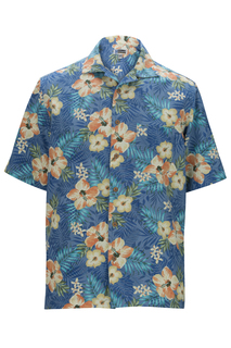 Edwards Hospitality Shirts, Blouses, Polos & Camps Hibiscus Multi-Color Camp Shirt-Edwards