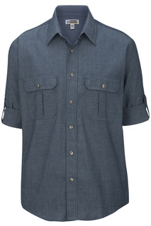 Edwards Mens Chambray Roll Up Sleeve Shirt-