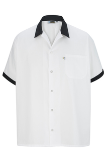 Edwards Hospitality Chef Apparel, Aprons,Shirts, Blouses, Polos & Camps Button Front Shirt With Trim-Edwards