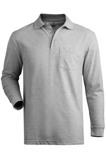 Edwards Blended Pique Long Sleeve Polo With Pocket-Edwards