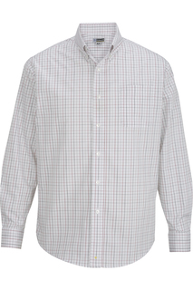 Edwards Mens Tattersall Poplin Shirt-
