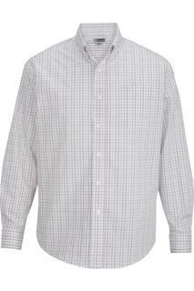 Edwards Mens Tattersall Poplin Shirt-Edwards
