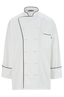 Edwards 12 Cloth Button Classic Chef Coat With Trim-