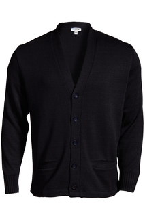 Edwards V-Neck Button Heavyweight Acrylic Sweater-Edwards