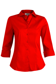 Edwards Ladies Tailored Full-Placket Stretch Blouse-3/4 Sleeve-Edwards