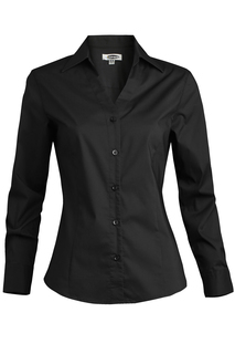 Edwards Ladies Tailored V-Neck Stretch Blouse-Long Sleeve-