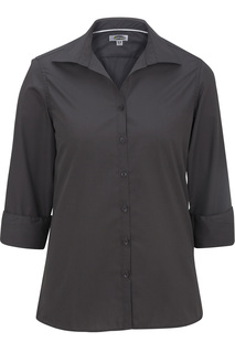 Edwards Ladies Lightweight Open Neck Poplin Blouse - 3/4 Sleeve-