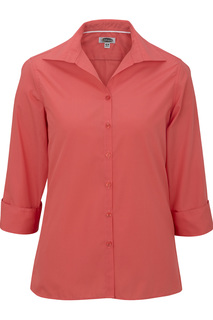 Edwards Corporate Hospitality Shirts, Blouses, Polos & Camps FRONT OF THE HOUSE Ladies Lightweight Open Neck Poplin Blouse - 3/4 Sleeve-Edwards