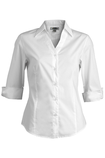 Edwards Ladies Tailored V-Neck Stretch Blouse-3/4 Sleeve-