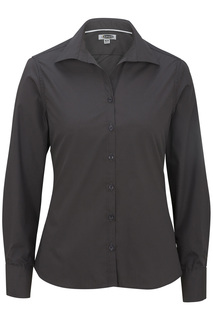 Edwards Ladies Lightweight Open Neck Poplin Blouse-Long Sleeve-