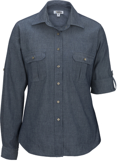 Edwards Ladies Chambray Roll Up Sleeve Shirt-Edwards