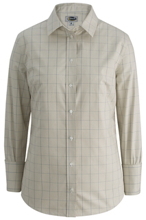 Edwards Ladies Redwood & Ross Houndstooth Window Pane Dress Shirt-Edwards
