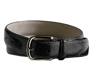 Edwards Leather Dress Belt With Brass Buckle-Edwards