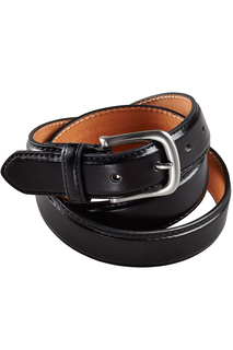 Edwards Leather Dress Belt With Nickle Brushed Buckle-Edwards