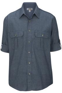 Edwards Mens Chambray Roll Up Sleeve Shirt